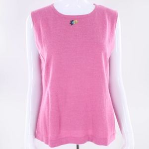 Ruby Rd. Pink Tank Top Wool Style Floral Flower L